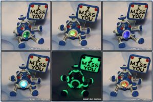 Polymer Clay Robot I Miss You by KIMMIESCLAYKREATIONS