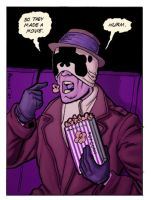Rorschach watches Watchmen by piratesversusninjas