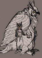 great horned owl mom by birdsatans