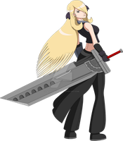 PKMN x FFVII - Cynthia with Fusion Sword Complete by LucarioShirona
