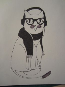Hipster Kitteh Sketch by FlamingChickCreation