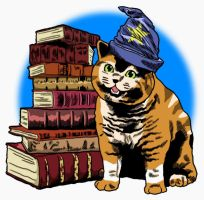 Happy kittie with books by ministan