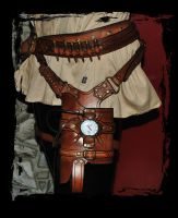 leather steampunk holster for maverick nerf gun by Lagueuse