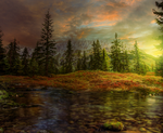 Autumn Sunset - Premade BG by Emerald-Depths