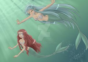 princess mermaid with a friend by Maemy