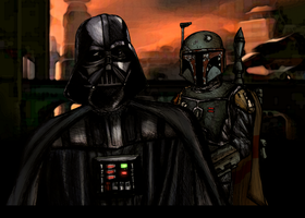 Darth Vader and Boba Fett by AraxussYexyr