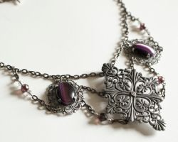 Purple Filigree Victorian Necklace by CrystalKittyCat