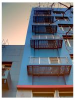 Blue Apartment Building by ivory