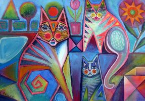 Cats in the garden by karincharlotte