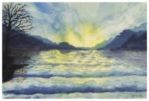Watercolor seascape by dominikmellen