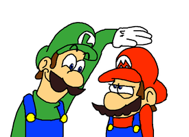 Luigi taunts Mario by AwesomeCAS