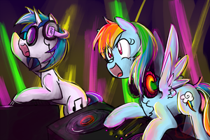 Request: Vinyl Scratch and Rainbow Dash DJing by RyuRedwings