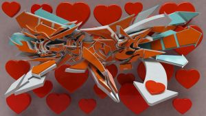 3d Love graffiti for Valentine by anhpham88