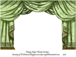 Green Paper Theater Curtain by EveyD