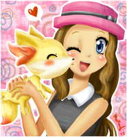 Serena and Fennekin by Cascadena