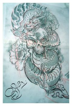 Tattoo design_Skull with Dragon by DOUGLASDRACO