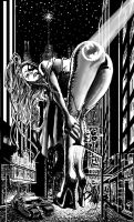 Giant Emma Frost in Gotham City by theborrowergts