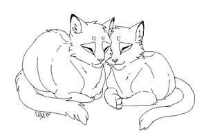 Feline Couple Lineart by Warrioratheart