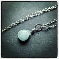 Frozen Teardrop Aquamarine Pendant by QuintessentialArts