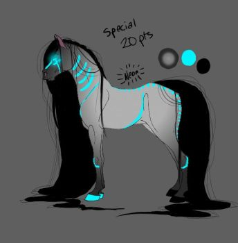 Neon Horse Adoptable 2 (CLOSED) by whistling-winds95