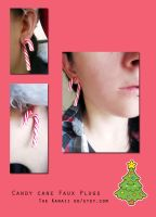 Candy cane plugs- Polymer clay by Thekawaiiod