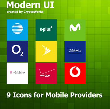 Modern UI 9 Icons for Mobile Providers by CryptoWorks