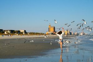 Running Through the Gulls by captainkiddway