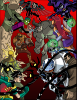TeenTitans V.S. TheSinisterSix by theRedDeath888