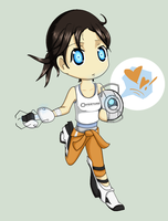 Chibi Chell + Wheatley by Konikaa