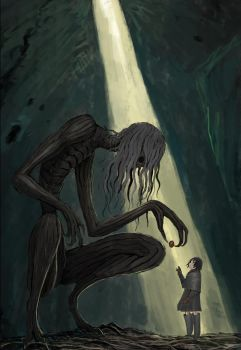 Ancient tree monster and girl concept art by ronamonG