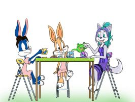 Tea Party With The Bunnies by narfpinky
