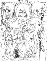 Kingdom Hearts.. Naruto SKETCH by starishot