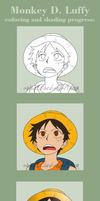 coloring and shading progress: Monkey D. Luffy by anineko