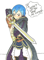 Morgan with the Falchion by GoldenSunSheba