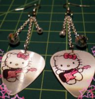 Hello Kitty Pick Earrings by TheCatSpanky
