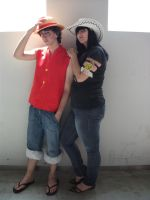 Luffy and robin by claudia1542