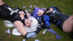 HDN Black Heart + Purple Heart Cosplay by StarletTiger