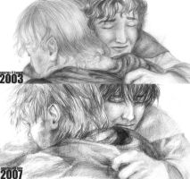 Before and After - Sam + Frodo by cafe-lalonde
