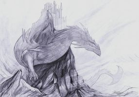 The Great Lungwurm pencil drawing by Brollonks