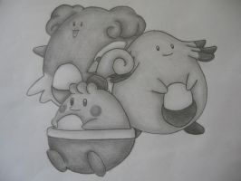 Blissey, Chansey + Happiny by sazmullium