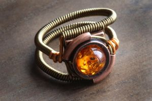 Steampunk Amber Ring by CatherinetteRings