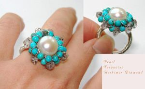 Pearl Turquoise wired ring by CrysallisCreations