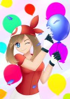 Commission - May popping a balloon by MyHeartGold