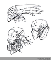Cyborg Heads Lineart by marcnail