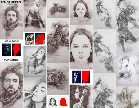 Pencil Sketch Photoshop Action by GraphicAssets