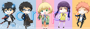Ao no Exorcist Keychain Samples by toumin