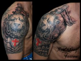 Lion armour half sleeve by Reddogtattoo