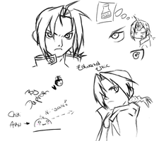 Edward Elric Sketches + Chibi Aru by Tara-Daphor