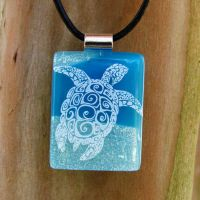 Tribal Sea Turtle Fused Glass by FusedElegance