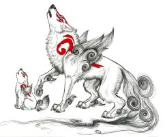 Amaterasu with Chibiterasu by MichiNekomata